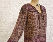 70s Indian Cotton Peasant Blouse - Bell Sleeves - Great Print