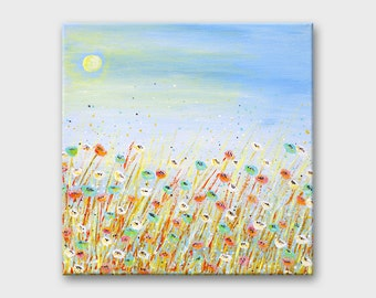 Original landscape painting Blue painting Light blue wall art Nature wall art Small landscape art Housewarming gift Floral art Flower art