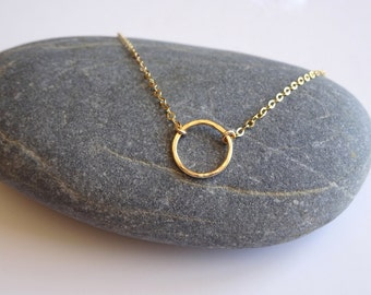 Dainty Gold Necklace Gold Circle Necklace Gold Jewelry Karma Necklace Eternity Necklace Circle Choker Bridesmaid Jewelry Bridesmaid Necklace