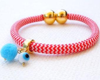 Red Chevron Bracelet - Evil Eye Bracelet - Rope Bracelet - Pom Pom Bracelet - Turquoise Bracelet - Gold Bracelet with Magnetic closure
