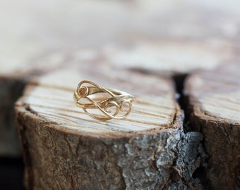 Elvish Swirly Leaf 14K 585 Yellow Rose or White Gold Engagement Ring Adjustable or Fixed Size