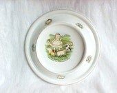 Vintage Ceramic Royal Baby Plate - Baby Bunting Nursery Rhyme Feeding Bowl - 1905 Edwardian - Adorable Graphics baby & piglets - Made In USA
