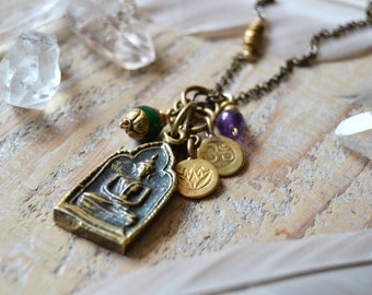 Buddha yoga necklace with om and lotus charms - yoga jewelry - buddha jewelry - om necklace