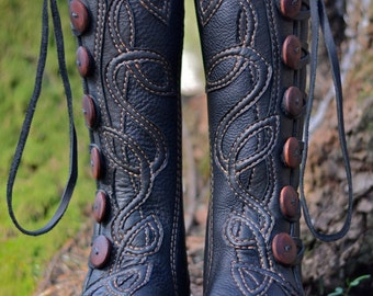 Women's Moccasin Boots - Knee High Boots - Celtic Moccasins - Custom Moccasins - Women's Boots -