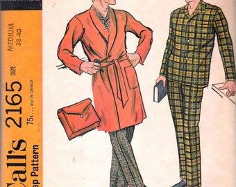 "Vintage 1969 McCall's 2165 Men's Pajamas & Robe with Case Sewing Pattern Size Medium Chest 38"" - 40"""