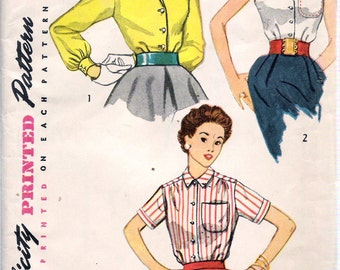 "Vintage 1953 Simplicity 4256 Three Shirt Blouses Sewing Pattern Size 14  Bust 32"" UNCUT"