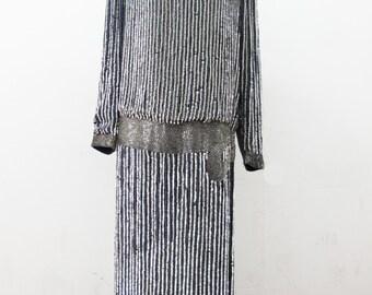 Vintage Flapper Roaring Twenties  Silk Beaded Drop Waist Dress by Metamorphosis