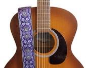 Hemp Guitar Strap - Purple Paisleys Woven Ribbon on Organic Hemp Webbing - Vintage Style Strap - Acoustic, Electric and Bass Guitars