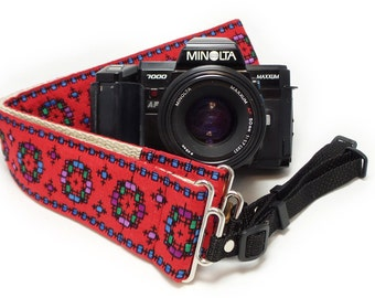 Hemp Camera Strap - Red Vintage Style Woven Ribbon on Organic Hemp Webbing and Webbing ends - works with DSLR, SLR and Manual Cameras