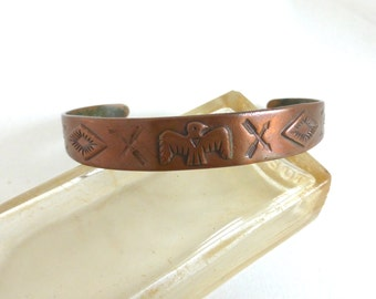Vintage Native American Bell Trading Post Copper Tribal Cuff Bracelet with Thunderbird