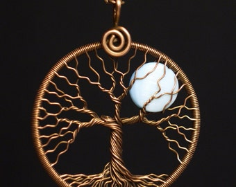 Tree-Of-life pendant Full-Moon necklace Copper and Mother of Pearl Shell round copper pendant Blue moon pendant Universal gift MW03