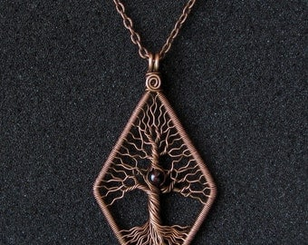 Tree of life necklace Tree of Knowledge pendant Copper and Garnet necklace rhombus-pendant Knowledge is power Gift for graduation MW08
