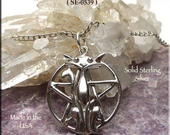 Sterling Silver Cat Pentacle Necklace, .925 Silver Cat Pentagram Pendant, Pagan Jewelry, Wiccan Cat Lover Discrete Hidden Pentacle SE-0539