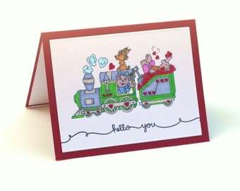 Train of hearts, Teddy Bears, hello you blank card, children, Thinking of You, missing you note card