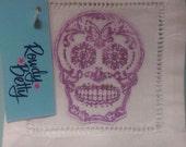 4 hand stamped sugar skull coaster/cocktail napkins
