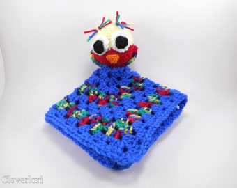 Crochet Lovey Blanket -Owl- Baby Afghan, Sleeping Monkey, Blue, Red, Yellow, Green, Infant, Unisex, Soft, Cute
