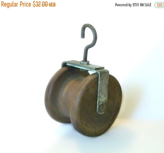 Antique wood iron pulley wheel hook by margsmostlyvintage for Uses for old pulleys