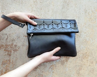 Fold over leather clutch, Metallic grey leather lace clutch