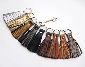 Leather Tassel Key chain, White, Gold, Brown and Black colors