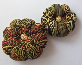 Pincushions Geometric Fabric . Great for a sewing gift - Round Pin cushion. Green spiral fabric. pins holder. Australian Made