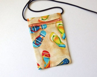 Pouch Zip Bag FLIP FLOPS Fabric. Great for walkers, markets, travel.  Cell Phone Pouch.  Small fabric purse. Bike Trike pouch. Thongs bag