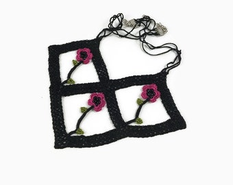 Fuchsia  Oya Flowers Unique Black  Frame  Crochet Necklace - Boho Chic Crochet Jewelry  Knitted Summer Necklace - gift For Her