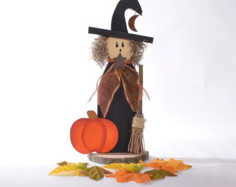 Rustic Wood Witch, Halloween witch with broom and pumpkin