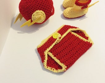 Crochet Flash Set, Hat and Diaper Cover, Baby Boy Costume, Super Hero Outfit,  Photo Prop, Baby Boy Clothing, Baby Halloween Costume,