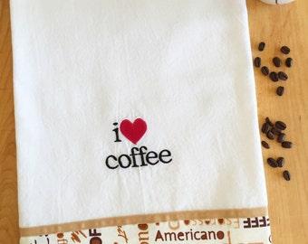 Dish Towel I HEART COFFEE / love coffee theme, Embroidered flour sack style