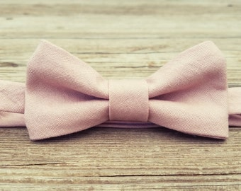 Boys Bow Tie- Rose Linen- Sizes newborn-adult