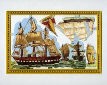 Ship SCRAP RELIEFS, Golden Scrap Reliefs, Scrap Reliefs, Ship Die Cuts, Victorian Die Cuts, Paper Ships, Die Cut Ships, Mamelok Reliefs