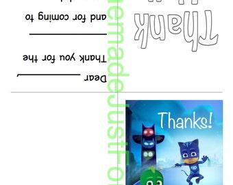 PJ Masks Thank You Card Instant Download PDF