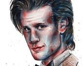 11th Doctor, Doctor Who, Matt Smith: Fine Art Giclee Watercolour Print