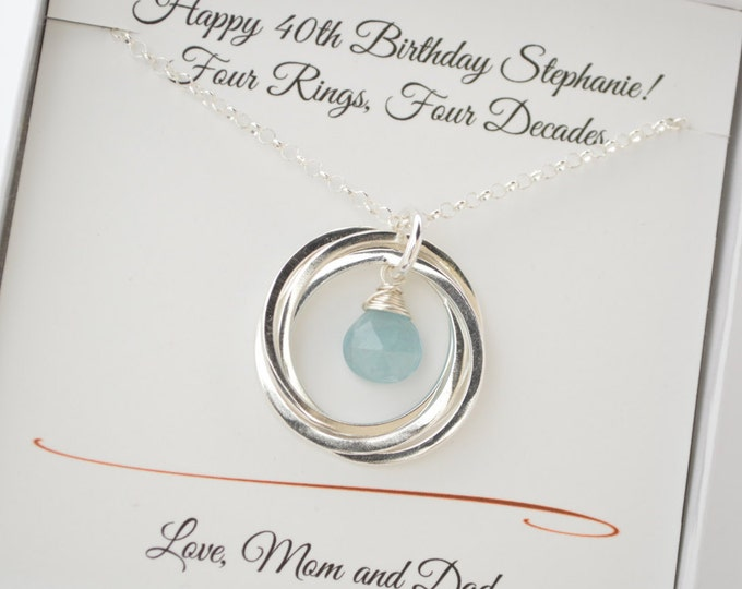 40th birthday gift for women, 4rd anniversary gift for wife, March birthstone necklace, 4 interlocking rings necklace, Aquamarine birthstone