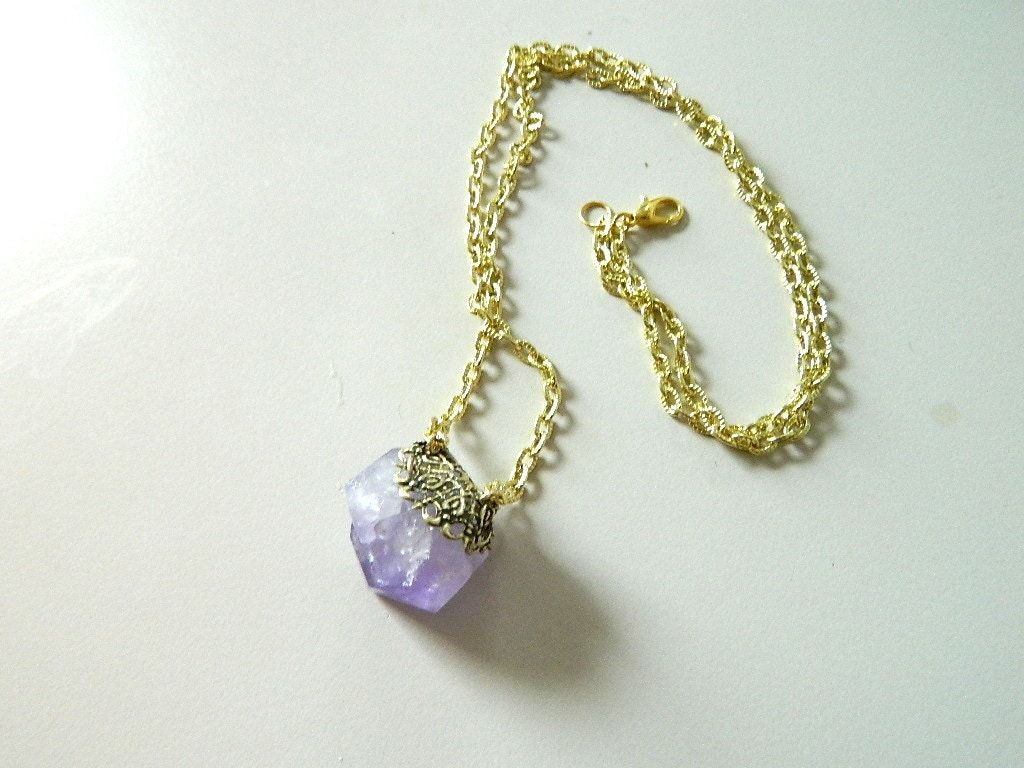 Raw Amethyst Necklace Raw Crystal necklace Brass by SakuraPink