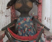 Primitive Grungy Folk Art~ Lavinia With Watermelon Doll~HAFAIR