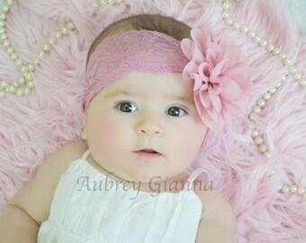 Shabby chic Headband, Vintage Pink lace Headband, Newborn headband, baby hair bow, Newborn photo prop,  Infant Headbands