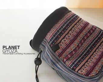 Chalk Bag - Tribal Striped Cotton Woven fabric, Dark Grayish Blue Woolen fabric, Patchwork