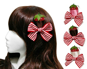 County Fair Chocolate Dipped Strawberry Bow Clips - In Milk, Starwberry, or White Chocolate
