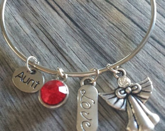 Aunt Charm Bracelet, Aunt Charm, Red Crystal, Aunt Bangle, Angel Bracelet, Silver Bracelet, Aunt Bangle Bracelet, Angel Charm, Bracelet