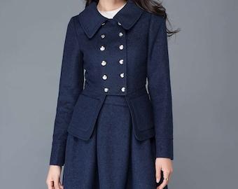 Short jacket, womens jackets, jacket, blue winter jacket, wool coat women, coat, womens short jacket, winter coat, blue coat women  C1037