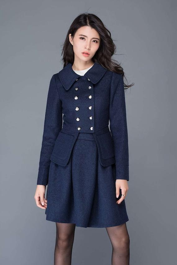 Blue wool jacket/ short jacket/women's jacket/winter jacket  C1037