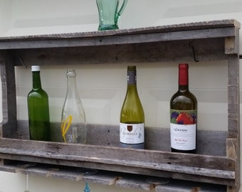 Distressed wood Wine Rack and Glass Holder