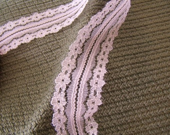"Light Pink Lace Trim 1 1/8""; 3 cm. by the yard non-stretch Sewing Crafts DIY Hems Scrapbook"