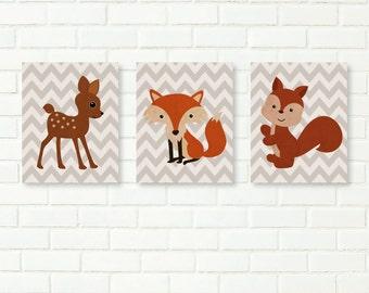 Nursery Art Prints, Baby Boy Nursery, INSTANT DOWNLOAD, Set of 3, Woodland, Fox, Fawn, Adventure, Printable Kids Decor, Toddler Room, Retro