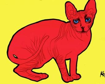 Red Sphynx Cat Pop Art Poster Print (A3)