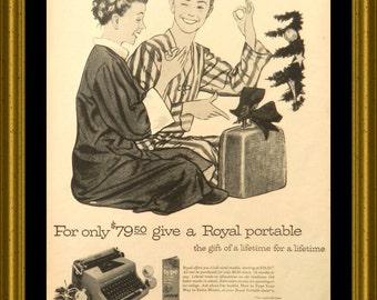 Royal Typewriter Ad - 1954 Royal Portable Typewriter Advertising - Office Wall Decor