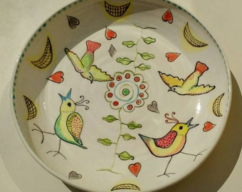 Large Pottery Serving Bowl Fruit Bowl with Birds Cream White Ceramics Hand Painted Handmade in UK - Wedding Gift Idea UK