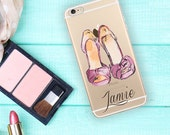 Fashion Iphone 6 case transparent, Purple shoes Iphone 6 Plus case clear, Cute fashion accessory, Personalized gift for women  (1624)