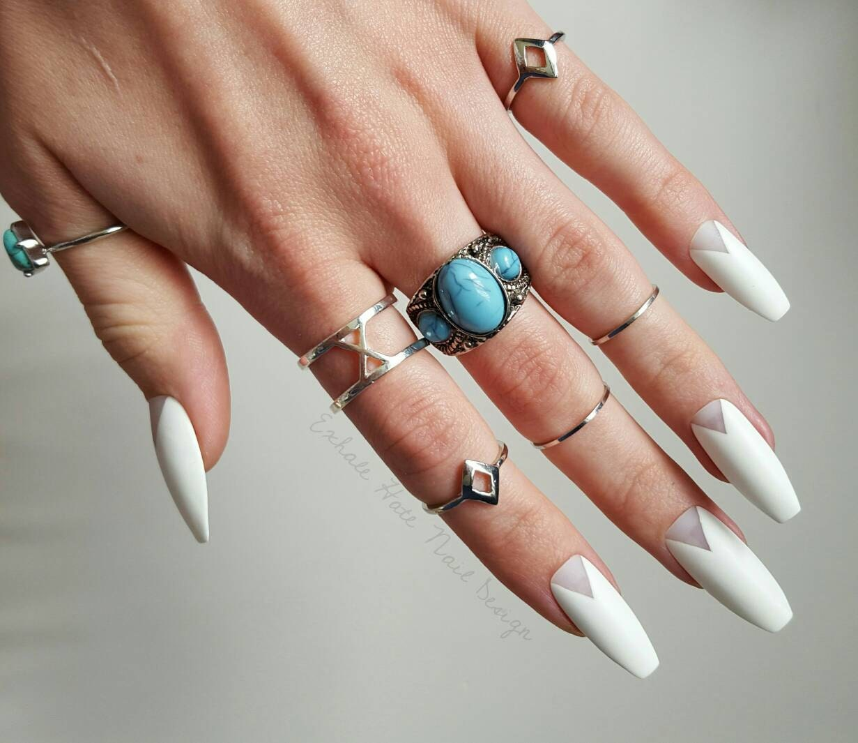 White Wedding Coffin Nails Matte or Glossy Long or Short